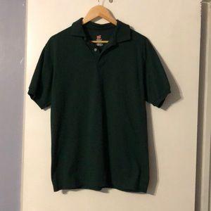 2 men's Hanes green polo shirts.